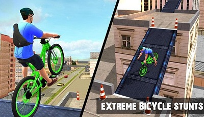 Rooftop BMX Bicycle Stunts 2