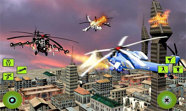 Police Helicopter Futuristic Air Robot Battle3