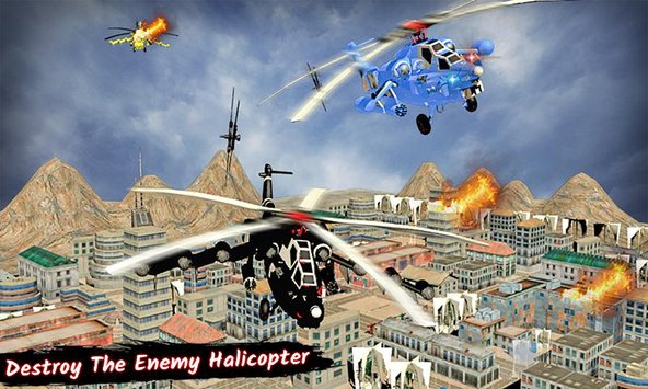 Police Helicopter Futuristic Air Robot Battle6